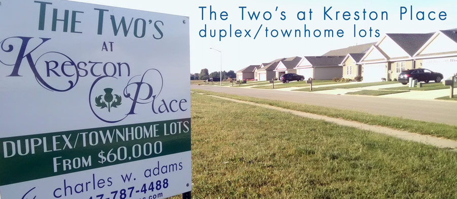 The Two's Duplex townhome lots in Kreston Place Real Estate Development Springfield Illinois